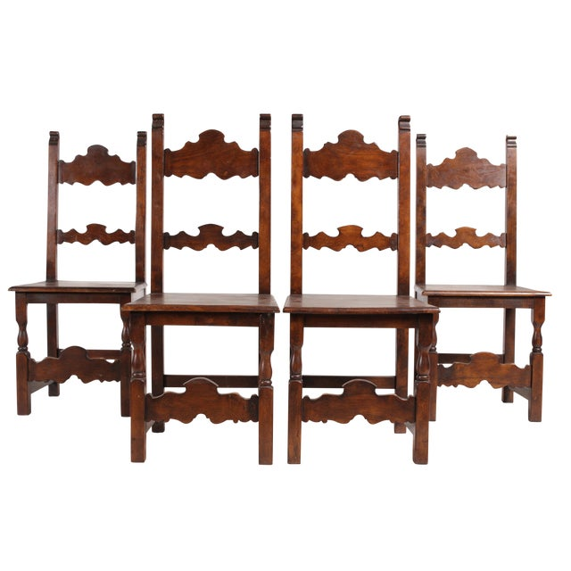 Baroque style wooden dining chairs set of 4 chairish for Baroque style dining chairs