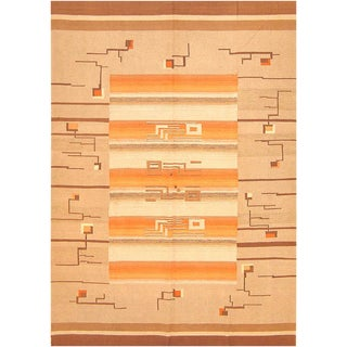 Early 20th Century Antique Flat Woven Room Size Swedish Kilim Rug - 7′ × 10′ For Sale