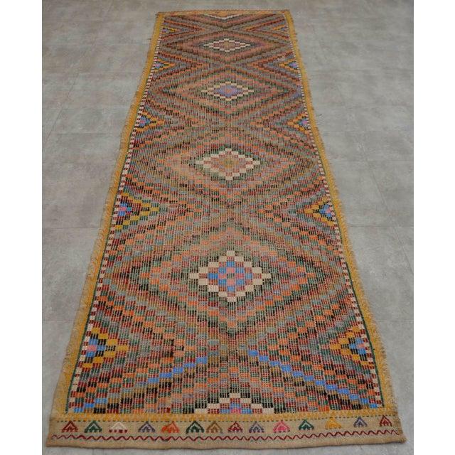 "Turkish Oushak Handmade Cotton Kilim Runner Rug - 3'2"" x 12'4"" - Image 5 of 10"