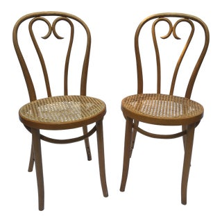 1900s Boho Chic Thonet Sweetheart Style Bistro Chairs - a Pair