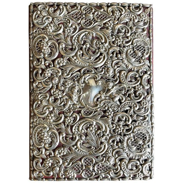 Ornate Sterling Silver Book Cover Photo Scrap Album W Red Leather Interior For Sale - Image 13 of 13