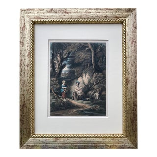 Antique Colored Etching Figures in a Forest 19th Century For Sale