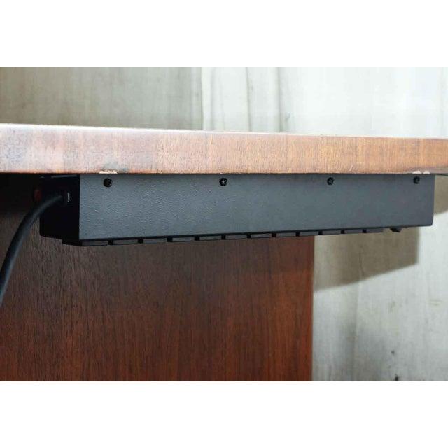 Brass Art Deco Walnut Veneer Executive Desk For Sale - Image 7 of 7