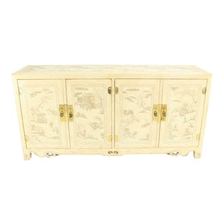White Lacquer Oriental Style Modern Sideboard by Drexel For Sale