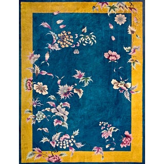 Antique Chinese Art Deco Rug- 9′ × 11′6″ For Sale