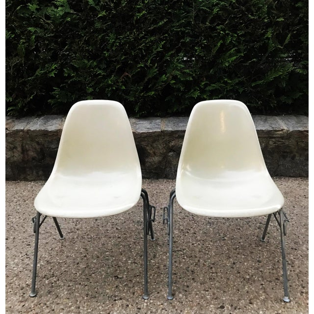 The original 1957 bad boys! Eames for Herman Miller, dated with original stickers. Lovely parchment color fiberglass shell...