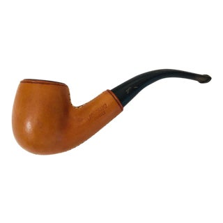 Collector Vintage Longchamp France Tan Calf Leather Wrapped Tobacco Pipe For Sale