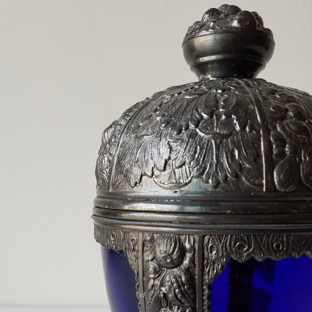 1920s 1920s Progress Novelty Casting Works Cobalt Blue Candy Dish For Sale - Image 5 of 13