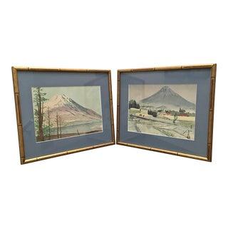"""The Eight Views of Mt. Fuji"" ""Pagoda at Nikko"" Mid-Century Japanese Woodblock Prints by Tokuriki Tomikichiro - a Pair For Sale"