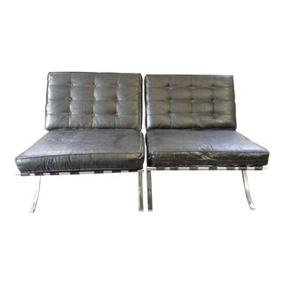Modern Mid Century Selig Barcelona Style Black Leather & Chrome Chairs - a Pair For Sale