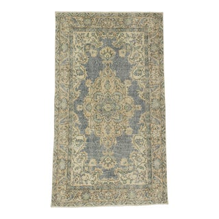 1960s Turkish Distressed Oushak Rug For Sale