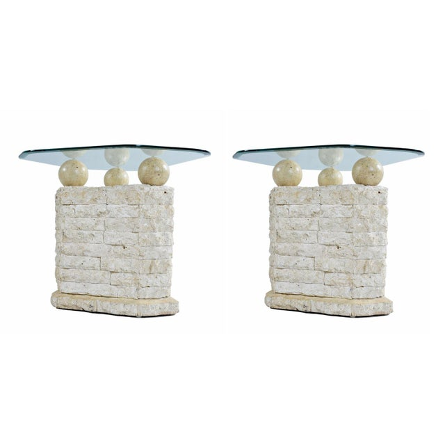 Stunning 3-piece Mactan stone pedestal style coffee table and end table set. in the style of Maitland-Smith. Mactan Stone...