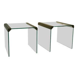 Pair of Pace Collection Waterfall Side Tables or Accent Tables