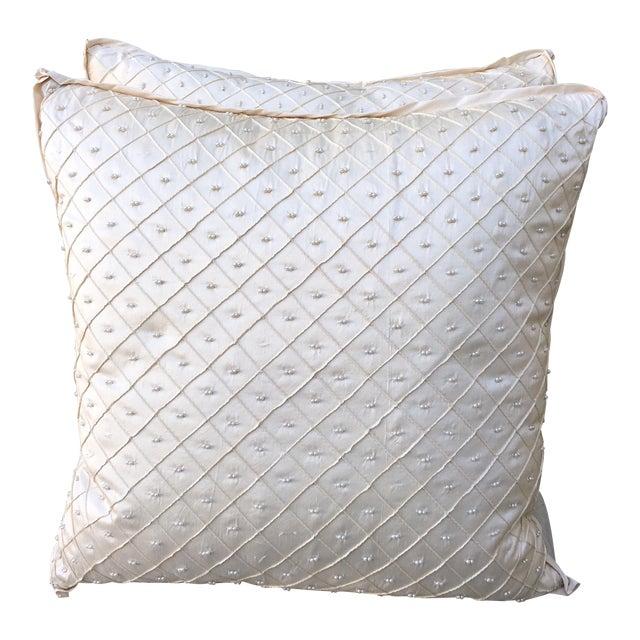 Cream Silk Pearled Pillows - Pair - Image 1 of 5