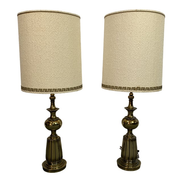 1960s Brass Stiffel Table Lamps With Glass Diffusers and Shades - a Pair For Sale