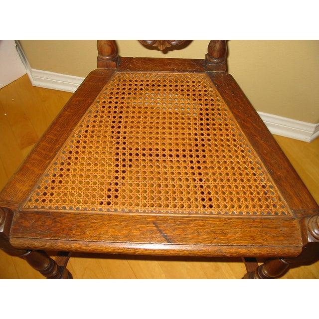 Berkey & Gay Jacobean Cane & Cowhide Arm Chair - Image 8 of 11
