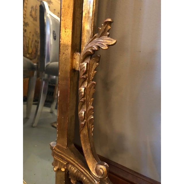 1950s Chippendale Style Mid Century Hand Carved Gilt Italian Rococo Mirrors - a Pair For Sale - Image 5 of 11