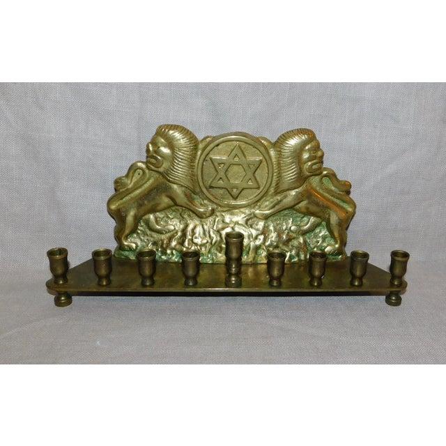 Antique Brass Tribe of Judah Menorah For Sale - Image 4 of 4