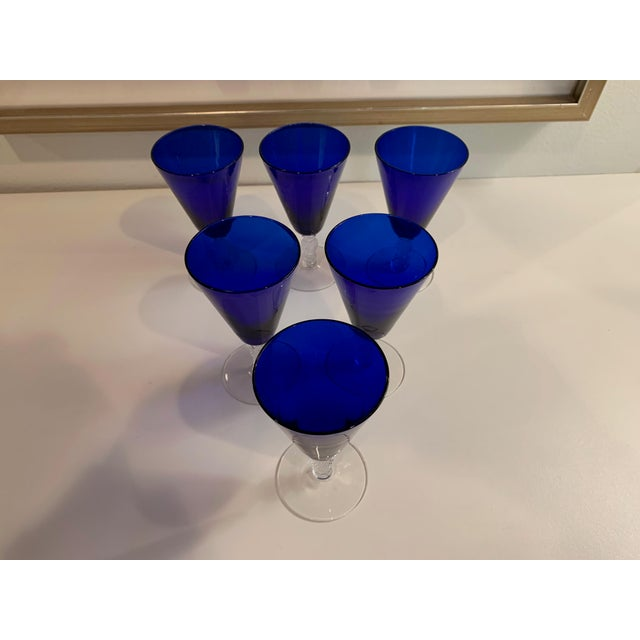 "1930's Morgantown Cobalt Blue and Crystal ""Golf Ball"" Footed Cordial Glasses - Set of 6 For Sale - Image 4 of 9"