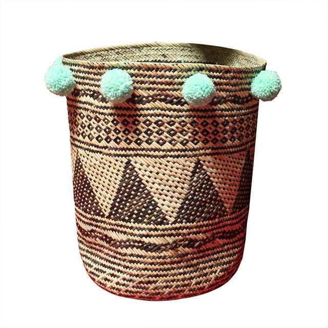 Borneo Drum Tribal Straw Basket with Mint Pom-poms - Image 5 of 5