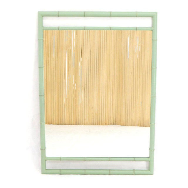 Wood Rectangular Blue Lacquer Faux Bamboo Mirror by Kittinger Mandarin Collection For Sale - Image 7 of 9