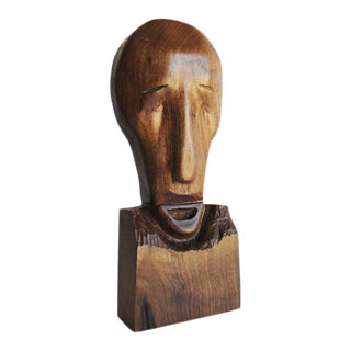 Mid-Century Hand Carved Wood Sculpture