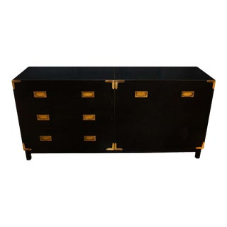 Black Lacquer Campaign Sideboard Credenza Dresser For Sale