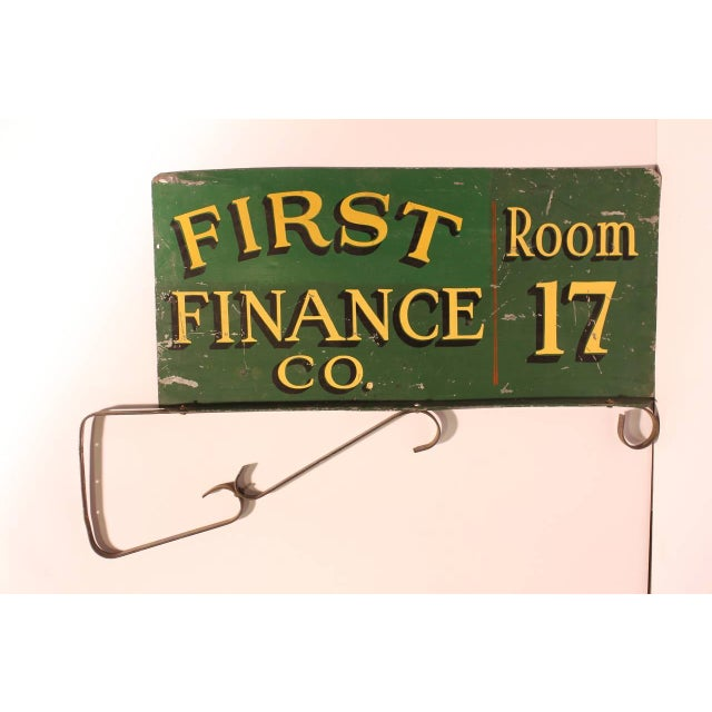 "1900's double sided metal sign "" First Finance Co. Room 17"" with original hanger. This piece would look great in a den or..."