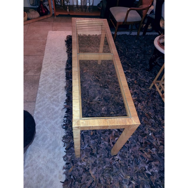 Sand Bielecky Brothers Wicker Papyrus Reed Wrapped Console Table with Inlaid Glass Top For Sale - Image 8 of 11