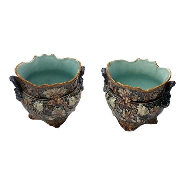 French Antique Majolica Planters - a Pair For Sale