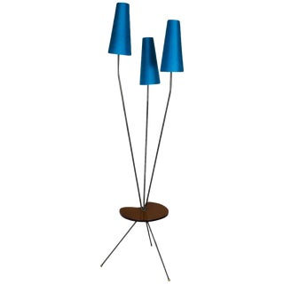 1960 Tripod Standing Lamp, Steel, Oak, Synthetic Ribbon, Turquoise Silk - France For Sale