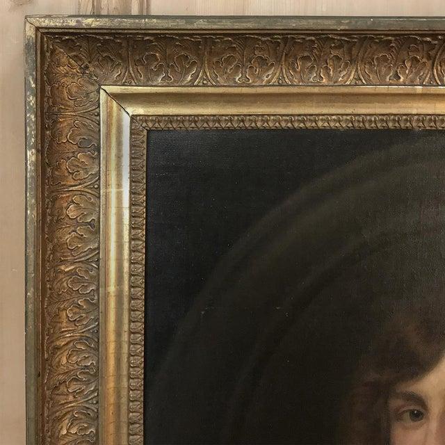 Black 18th Century Framed Oil Portrait on Canvas For Sale - Image 8 of 12
