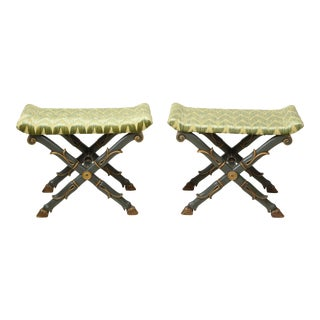 Mid 19th Century William IV Green and Gilt X-Form Benches - a Pair For Sale
