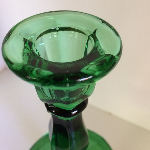 Vintage Green Crystal Candle Sticks by Fostoria For Sale - Image 9 of 11