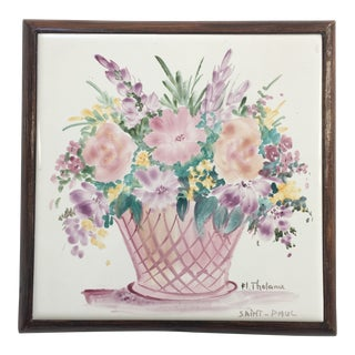 Artist-Signed Hand-Painted Faience Ceramic Tile Trivet Made in France For Sale