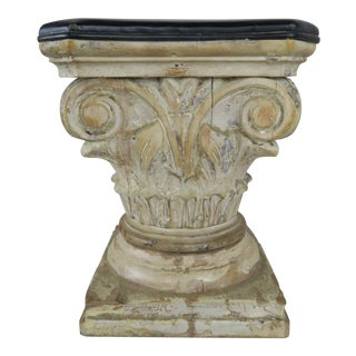 Italian Leather and Wood Capital Seat or Foot Stool For Sale