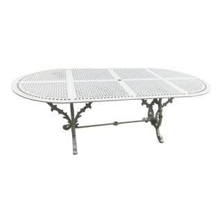 1990s Mediterranean White Iron Outdoor Patio Dining Table For Sale