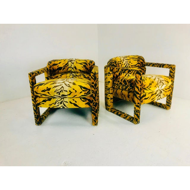 Custom Tiger Print Milo Baughman Chairs For Sale - Image 11 of 13