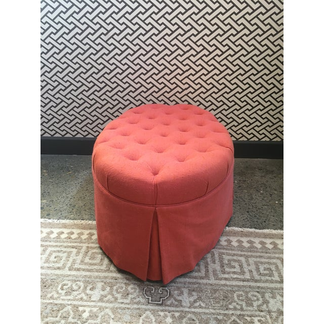 Orange Oval Tufted Ottoman For Sale - Image 4 of 7