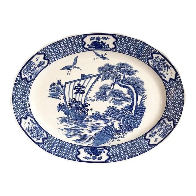 Large Blue & White Japanese Platter For Sale