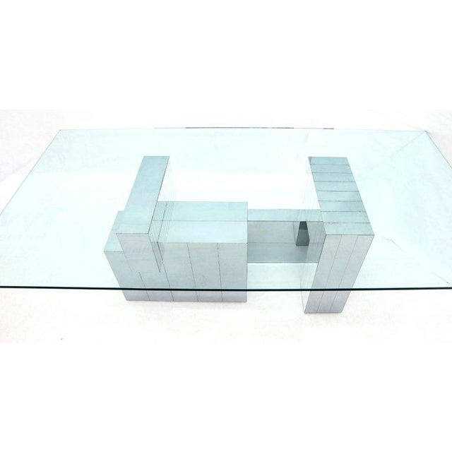 1970s Paul Evans for Directional Large Chrome Glass Top Dining Conference Table For Sale - Image 5 of 13