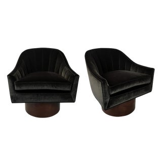 Pair of Velvet Swivel Chairs by Harvey Probber For Sale