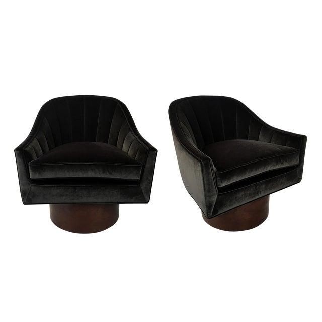 Pair of Velvet Swivel Chairs by Harvey Probber For Sale