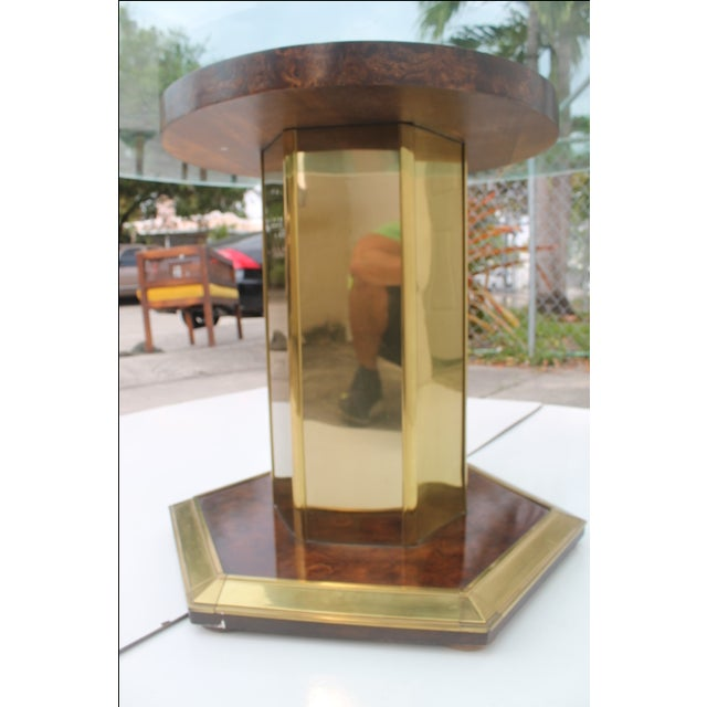 Mastercraft Vintage Burl Wood & Brass Dining Table For Sale In Miami - Image 6 of 11