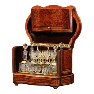 Important 19th Century French Napoleon III Walnut & Burl Cave a Liqueur Tantalus