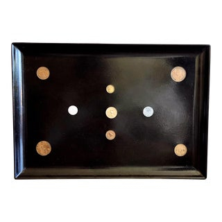 Vintage Couroc Lacquer Black Tray With Inlaid Coins For Sale