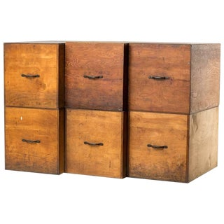 Set of Six Wooden Boxes For Sale