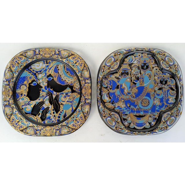 Rosethal, Bjorn Wiinblad, Limited Edition Weihnachten (1977/1978), Painted Art Glass Plates, a Pair For Sale - Image 11 of 11