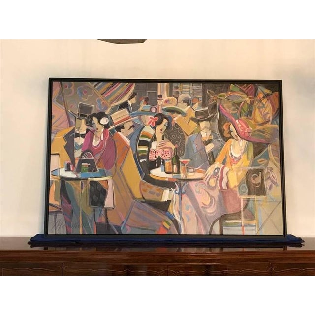 """Original Isaac Maimon """"Sharing Great Times"""" acrylic on canvas. Image size 47 x 70.5."""