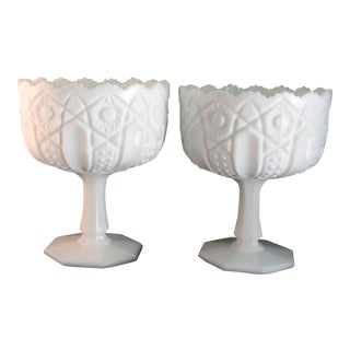 Vintage Milk Glass Compotes Pedestal Dishes - a Pair For Sale